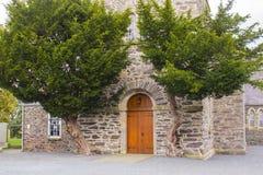 Die Eichentür der Drumbo-Gemeinde-Kirche grenzte durch zwei alte Wacholderbuschbäume im Dorf der Grafschaft unten von Drumbo in N Stockfotografie