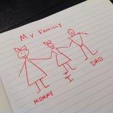 Die einfache Zeichnung des Kindes von einem Familly Stockbild