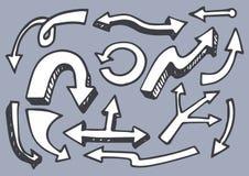 Die eingestellten Pfeile übergeben gezogene Element-Vektor-Illustration stock abbildung
