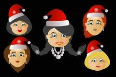 Die einige Kopfikone Fräuleins Santa Claus der unterschiedliche Losknopfschlüssel, zum des Klickens zu drücken ist auf einem schw Lizenzfreies Stockbild
