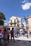 Die Einkaufsstraßen in Korfu-Stadt auf der griechischen Insel von Korfu Stockfoto