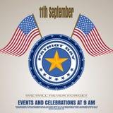 Die Einladung des Patriot-Tages - vector Bild auf einem Steigungsbraunhintergrund Vector Illustration des Patriot-Tages mit Auswe Lizenzfreie Abbildung