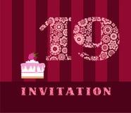 Die Einladung, 45 Jahre, Schokoladenkuchen, Herz-förmig, Vektor Lizenzfreies Stockfoto