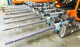 Die Einnebelung bearbeitet Ausrüstung maschinell, um für Tötungen Aedesmoskito zu verwenden Stockfotografie