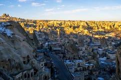 Die einzigartige Stadt von Goreme in Cappadocia, die Türkei stockbild