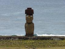 Die einzige Statue von Moai mit Augen, Osterinsel, Chile stockfoto