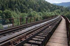 Die Eisenbahn, die zu einem Abstand geht Stockfotos