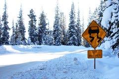 Die eisige Fleckenstraße Warnzeichen herein die tiefe ironische Schneeironie Stockfotografie
