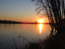 Die Elbe. Sunset by the Elbe river. Dresden, Germany royalty free stock photo