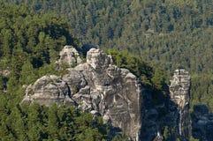 Die Elbe-Sandstein-Berge Stockfotos
