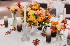 Die elegante Hochzeitstafel Lizenzfreies Stockfoto