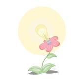 Die elektrische Birne ist von einer Blume gewachsen Stockbilder