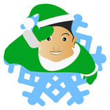 Die Elfe Santa Claus der Brunette in Form einer Schneeflocke eine Ikone auf weißem fone dlya die Presse, Unterhemden, T-Shirts, G Stockfoto