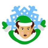 Die Elfe Santa Claus der Brunette in Form einer Schneeflocke eine Ikone zu den Teilhänden beiseite Auf weißem Hintergrund für die Stockfoto