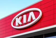 Die Emblem KIA-Motoren Lizenzfreie Stockfotos