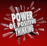 Die Energie des positiven Denkens fasst 3D ab, das Haltung sagt Stockfoto