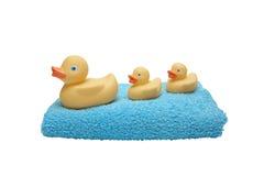 Die Ente der Kinder mit Entlein auf dem Tuch getrennt auf Weiß Stockfotografie
