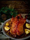 Die Ente gebacken mit Sauerkraut Stockfotos