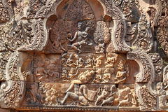 Die Entlastung von Angkor-Tempel (Banteay Srei), Siem Reap, Kambodscha Stockfotografie