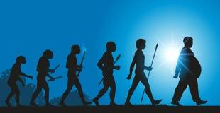 Die Entwicklung von Menschlichkeit in Richtung zu einer Zunahme der Korpulenz wegen einer schlechten Diät stock abbildung