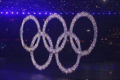 Die olympischen Ringe Stockbilder