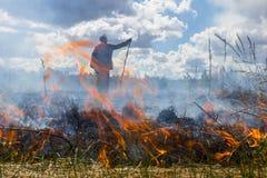 Die Erde brennt, die Feldbrände und der starke Rauch Der Mann im Rauche Hintergrund Stockfotografie