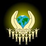Die Erde in den menschlichen Händen vektor abbildung