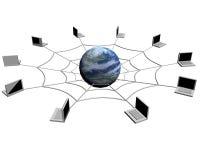 Die Erde erhielt im Internet auf einem weißen backgroun Lizenzfreie Stockfotografie