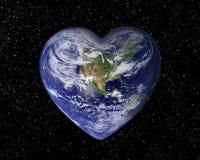 Die Erde in Form eines Herzens Stockfoto