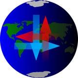 Die Erde mit arows Stockfotos