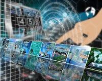 Die Erde und das binär Code Lizenzfreie Stockbilder