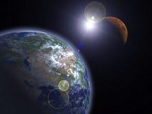 Die Erde und der Mars Lizenzfreies Stockbild