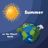 Die Erdkugel mit Blumen, Schmetterlingen, Palmen, Regen, Wolken, Regenbogen, Flugzeug und glänzender Sonne lizenzfreie abbildung