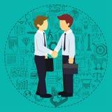 Die erfolgreichen Teilhaber, die Hände mit Geschäft rütteln, kritzelt Hintergrund Stockfotos