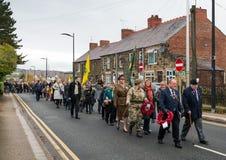 Die Erinnerungs-Parade auf Erinnerung Sonntag 2016 in Wrexham Wales stockfoto