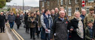 Die Erinnerungs-Parade auf Erinnerung Sonntag 2016 in Wrexham Wales lizenzfreies stockfoto