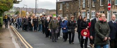Die Erinnerungs-Parade auf Erinnerung Sonntag 2016 in Wrexham Wales lizenzfreies stockbild