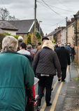 Die Erinnerungs-Parade auf Erinnerung Sonntag 2016 in Wrexham Wales lizenzfreie stockfotos