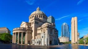 Die erste Kirche von Christus-Wissenschaftler in Christian Science Plaza in Boston, USA stockfotografie