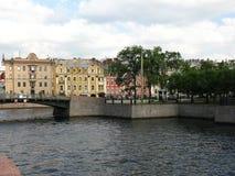 Die erste Technikbrücke und der Moyka-Fluss, St Petersburg Lizenzfreies Stockfoto