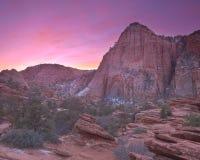 Sonnenaufgang über Zion Nationalpark stockfotografie