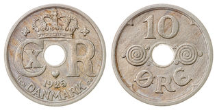 10 die erts 1925 muntstuk op witte achtergrond, Denemarken wordt geïsoleerd Royalty-vrije Stock Fotografie