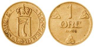 1 die erts 1938 muntstuk op witte achtergrond, Noorwegen wordt geïsoleerd Royalty-vrije Stock Afbeeldingen