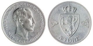 50 die erts 1914 muntstuk op witte achtergrond, Noorwegen wordt geïsoleerd Stock Afbeelding
