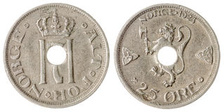 25 die erts 1923 muntstuk op witte achtergrond, Noorwegen wordt geïsoleerd Royalty-vrije Stock Foto's
