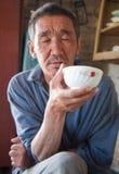 Die erwachsene Person der Eingeborene von Asien trinkt Tee Stockbild