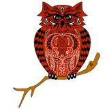 Die Eule sitzt auf einer Niederlassung, einer Illustration eines Uhus mit einem Muster, dem stilisierten Vogel, Design von den Bl Lizenzfreies Stockfoto