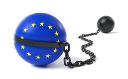 Die Europäische Gemeinschaft gebunden an einem Klotz am Bein Stockbild