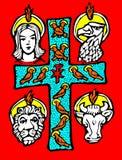 Die Evangelisten und das Kreuz Stockfotos