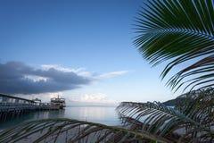 Die Fähre ist am Liegeplatz gegen die blauer Himmel- und Palmen Lizenzfreies Stockbild